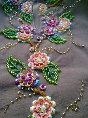 Tulle hand-embroidered using velvet and satin applique work in glorious summer colors Tambour Embroidery, Bead Embroidery Jewelry, Silk Ribbon Embroidery, Embroidery Stitches, Embroidery Patterns, Hand Embroidery, Couture Embellishment, Brazilian Embroidery, Applique Designs
