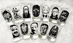 Horror Shot Glasses rustic halloween Halloween Decor Pennywise / It Freddy Kruger Micheal Myers Horror Lover Horror Movie Shots Halloween, Halloween Nail Designs, Halloween Decorations, Pennywise Decorations, Rustic Halloween, Diy Halloween, Halloween Horror, Halloween Nails, Horror Room
