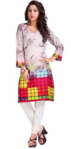 YSK Multicolor Georgette Kurti Digital Print Indian Kurti