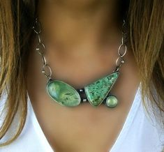 A Summer Pond Prehnite and Variscite Sterling Silver