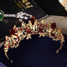 New Baroque Red Rhinestone Bridal Crown Tiara Headpiece Bridal Hair Accessories Jewelry Bridal Crown, Bridal Tiara, Bridal Headdress, Bridal Headpieces, Bridal Earrings, Wedding Jewelry, Cute Jewelry, Hair Jewelry, Jewellery