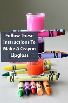 2 Ingredient Crayon Lipgloss Recipe that is easy to make with household materials, non toxic and a fun DIY for sexy, pouty and fun lips with Crayons Fun Crafts, Diy And Crafts, Crafts For Kids, Easy Diy Gifts, Homemade Gifts, How To Make Something, Craft Projects, Projects To Try, 2 Ingredients