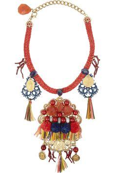 Dolce & Gabbana|Filigrane embellished gold-plated necklace |NET-A-PORTER.COM
