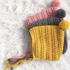 Classic Pixie Bonnet Crochet pattern by Hello Moon Crochet Crochet Baby Bonnet, Crochet Baby Clothes, Baby Blanket Crochet, Hand Crochet, Crochet Hooks, Knit Crochet, Crochet Baby Stuff, Baby Bonnet Pattern, Knit Cowl