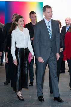 2/25/2016 King Felipe and ‪‎Queen Letizia‬ attend the opening of ARCO 2016 at Ifema in Madrid