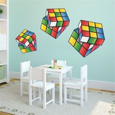 Rubik's Cube stickers Rubik's kubus Wall Art Design door PrimeDecal