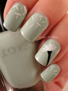 Dandelion Manicure - so sweet! I would love to duplicate this on a blue nail