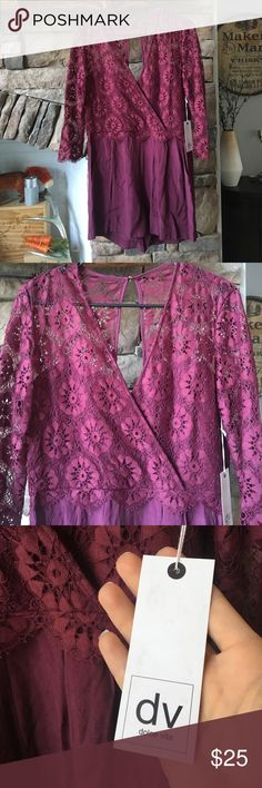 NWT dolce vita Romper Brand new. Never worn. Raspberry (Burgundy/purple color.). Medium. Lace detail on top. Flattering shorts for romper bottom. Dolce Vita Other