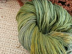 Art yarn. Plant dyed wool yarn in green and blue. DK yarn weight. Organic. Suitable for knitting tablet weaving, crochet and nalbinding.