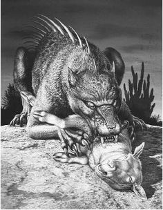"""El Chupacabra (Spanish for """"goat sucker""""). The first reported attacks occurred in March 1995 in Puerto Rico, Dominican Republic, Argentina, Bolivia, Chile, Colombia, Honduras, El Salvador, Nicaragua, Panama, Peru, Brazil, the United States, and Mexico. The most common description of Chupacabra is a reptile-like being, appearing to have leathery or scaly greenish-gray"""
