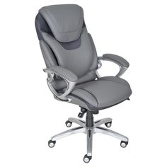 Serta 43807 Air Health and Wellness Executive Office Chair, Light Grey for sale online Executive Office Chairs, Home Office Chairs, Home Office Furniture, Office Desk, Bonded Leather, Grey Leather, Wingback Accent Chair, Accent Chairs, Outdoor Rocking Chairs