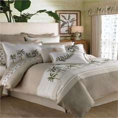Fiji Tan and White with Palm Trees Comforter Set by Croscill