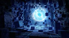 Cube room concept, mainly dark colors with a bright point of interest Futuristic Art, Futuristic Technology, Futuristic Architecture, Cubes, Tech Art, Cube Design, Painting Process, Fantasy Art, Concept Art