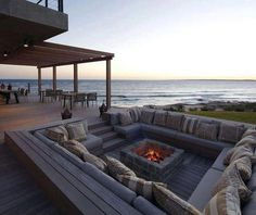 built in outdoor firepit by ocean