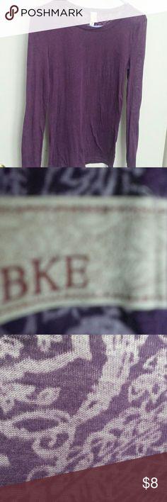 BKE Long Sleeve Burnout Tee Floral paisley pattern in a semi sheer purple top. Buckle Tops Tees - Long Sleeve