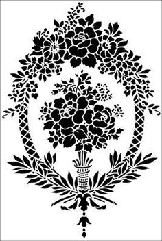 Adam Cartouche No 2 stencil from The Stencil Library ARCHITECTURE range. Damask Stencil, Stencil Patterns, Stencil Painting, Stencil Designs, Embroidery Patterns, Silk Painting, Stencils Online, White Ornaments, Hand Flowers