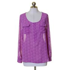 Old Navy Purple Print Scoop Neck Henley Tunic Blouse Size M #OldNavy #Tunic #Casual