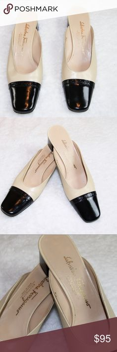 Salvatore Ferragamo black/tan mules  sz 7AA Salvatore Ferragamo black/tan mules sz 7AA. Gorgeous shoes Excellent Condition Salvatore Ferragamo Shoes Mules & Clogs