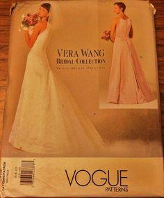 Elegant Wedding Gown With Train Bridesmaid Dress Vogue Designer Sewing Pattern Oscar De La A Original Uncut Size 12 16 Rare Pinterest
