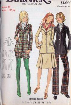 "1970s Misses Jacket, Skirt, Pants and Shorts Vintage Sewing Pattern, Butterick 6346 bust 31.5"" uncut"