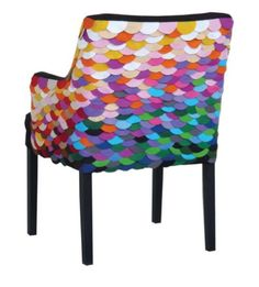 I am so doing this with my ugly old rocking chair. It's done with felt! (Decor Hacks always has lots of eye candy! This photo: Rio Dancer Chair) Funky Furniture, Painted Furniture, Furniture Design, Colorful Furniture, Upholstery Cleaner, Furniture Upholstery, Upholstery Repair, Upholstery Tacks, Chairs