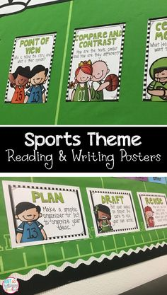 Reading and writing posters that are perfect for a sports theme classroom!