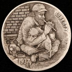ALEX OSTROGRADSKY HOBO NICKEL - TOGETHER - 1937 BUFFALO NICKEL Wyrd Sisters, Hobo Nickel, Coin Art, Antique Coins, Old Money, World Coins, Rare Coins, Coin Collecting, Art Forms