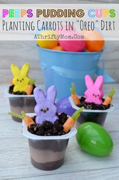 Peeps In the Dirt Pudding Cups, with OREO Dirt. Quick and Easy Easter Dessert That's really cute!