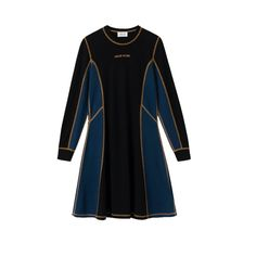 WOOD WOOD MANDY DRESS - BLACK / COLORBLOCK. #woodwood #cloth Wood Wood, World Of Fashion, Dress Black, Color Blocking, Dress Outfits, Dresses With Sleeves, Detail, Coat, Long Sleeve