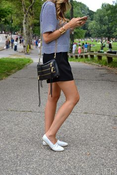 crosswalk. (www.justjem.com) | kate spade saturday top | black shorts | rebecca minkoff bag | stella & dot details | topshop flats