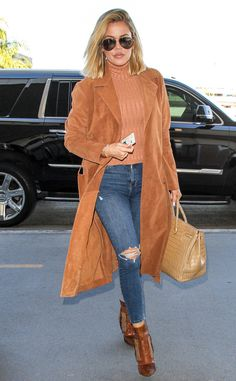 Caramel Confection from Khloe Kardashian's Stellar Style Week  The Keeping Up with the Kardashian star mastered the art of caramel color-blocking on the way to NYC.