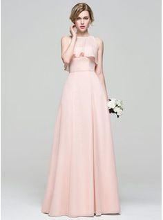 A-Line/Princess Sweetheart Floor-Length Chiffon Bridesmaid Dress With Bow(s) (007072819)