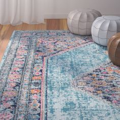 Beautiful blue rug for a bedroom or living room