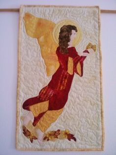ANGEL Handmade WALL HANGING   Wings Of An Angel  Signed by Quilter by QuiltingbyDiamanti on Etsy