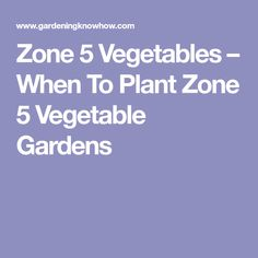 Zone 5 Vegetables – When To Plant Zone 5 Vegetable Gardens