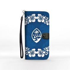 Guam Seal Navy Blue Hibiscus Chamorro Phone Wallet Case iPhone Samsung Pixel Motorola