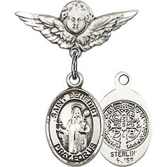 Sterling Silver Baby Badge with St Benedict Charm and Angel wWings Badge Pin 78 X 34 inches >>> Click image for more details.(This is an Amazon affiliate link and I receive a commission for the sales)