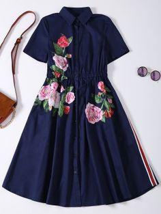 Button Up Sequins Rose Shirt Dress - Cadetblue M