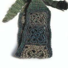 Crochet Headband, Boho Knit Hairband in a Wool Mix, Dark Blue, Gray, Dark Teal & Sage
