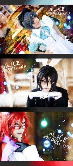 Ciel * Sebastian* Grell in Wonderland cosplay