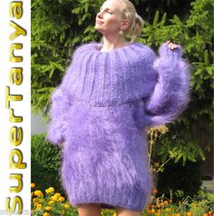 Okay, this is a bit much for me, or maybe for anybody, but it made me smile!      New Hand Knitted Mohair Sweater, Fuzzy Violet Dress, Fluffy Jumper by SUPERTANYA