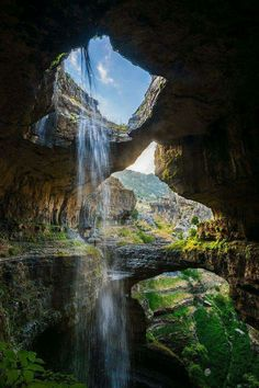 Waterfall at the Cave of Three Bridges in Lebanon.
