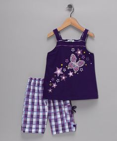 Take a look at this Purple & Lilac Butterfly Top & Shorts - Toddler & Girls by Littoe Potatoes on #zulily today!