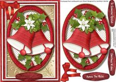Beautiful Christmas Bells ina Oval Frame on Craftsuprint designed by Ceredwyn Macrae - A lovely card to make and give to anyone at Christmas Beautiful Bells in a Oval Frame a lovely card has three greeting tags and a blank one for you to choose the sentiment, - Now available for download!