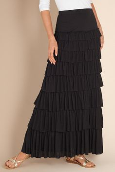 I love the way these tiers move!  Tiered Knit Skirt - Ruffle Skirt, Slimming Maxi Skirt | Soft Surroundings