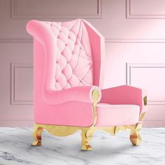 I double-dare you not to  this pink chair from @royal.stranger . Nope...I triple-dare you. . Handmade  Gold Leaf  Pink Velvet Upholstery = AWESOME. . . .  #decor  #interiordecor  #interiordecoration  #homedecor  #design  #homedesign  #interiordesign  #interiordesigner  #interiorstyling #interiorinspiration  #interiordesignideas  #designideas  #decorideas  #toronto #interiordesigns  #decoration  #decorate  #homedecoration  #instadesign  #instadecor  #instainteriordesign…