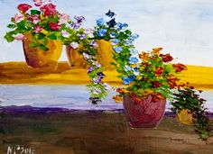 Flowers, natasha petrosova original oil painting Title: Flowers in Pots 9x12  inches oil on canvas board