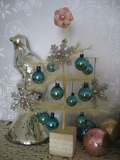 Vintage Christmas feather tree and ornaments