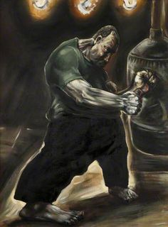 """Peter Howson, Oil on Canvas, """"Yesterdays Hero"""", 1986 Oil on x Peter Howson, British Artists, Art Uk, Your Paintings, Oil On Canvas, Boxer, Hero, Type, Projects"""