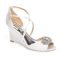 Women's Badgley Mischka Tacey Embellished Strappy Wedge Sandal (149.655 CLP) ❤ liked on Polyvore featuring shoes, sandals, white satin, wedge sandals, embellished sandals, white strappy shoes, wedge heel sandals and white strap sandals
